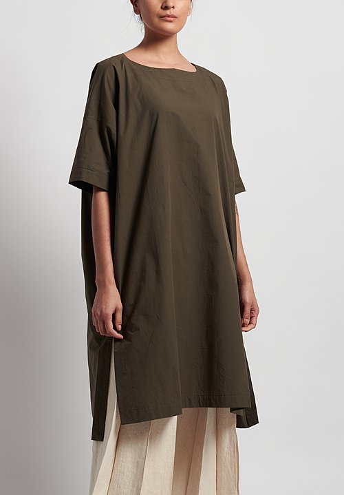 Jan-Jan Van Essche Organic Cotton Wide Fit Long Tunic in Moss