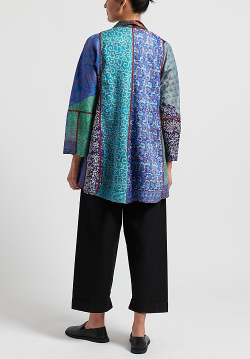 2-Layer Vintage Silk Long Flare Jacket in Turquoise/ Multi