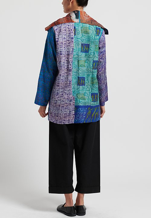 Mieko Mintz 2-Layer Vintage Silk Pocket Jacket in Blue/ Orange