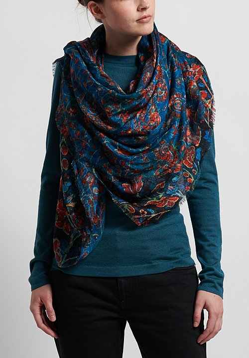 Alonpi Printed Square Scarf in Dragon Blue