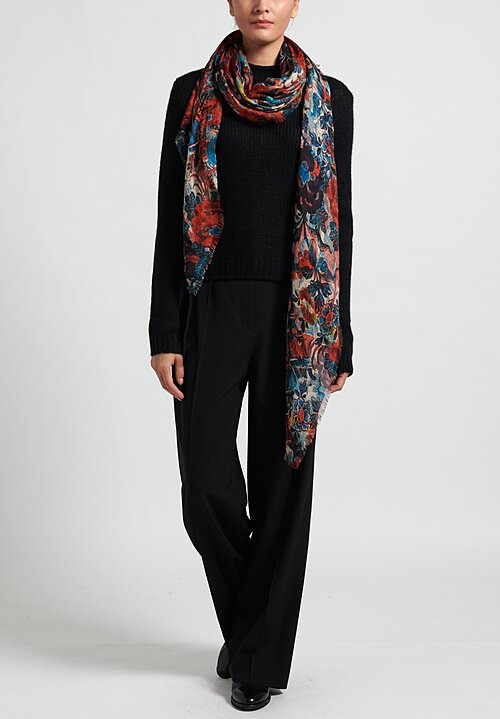 Alonpi Printed Square Scarf in Hopper Red