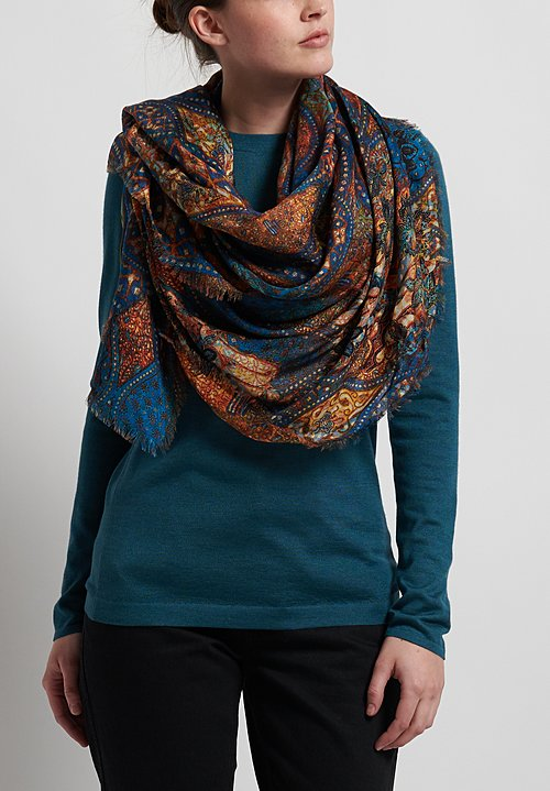Alonpi Printed Square Scarf in Owens Multi