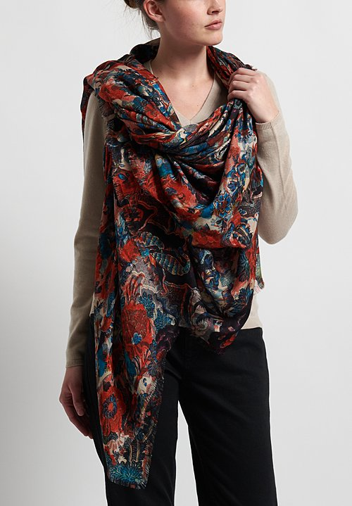 Alonpi Printed Scarf in Red