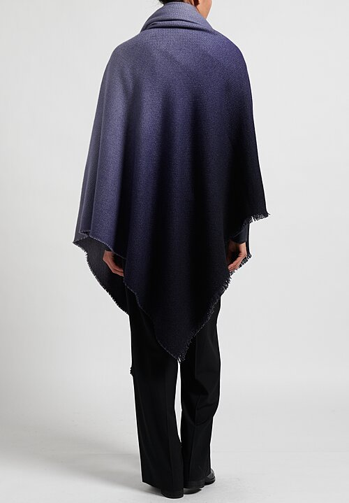 Alonpi Cashmere Soleil Degrade Fringed Shawl in Blue