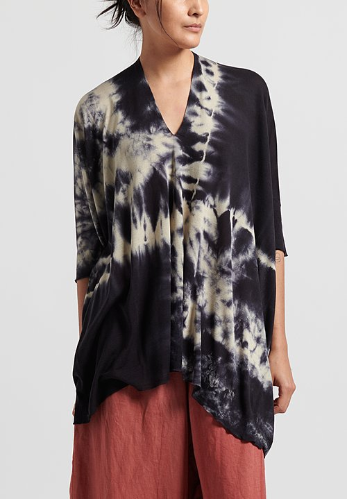 Masnada Plûs Silk Tie Dye Top in Dark Blue