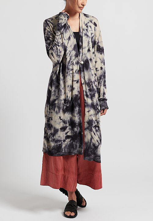 Masnada Plûs Silk Tie Dye Long Cardigan in Dark Blue