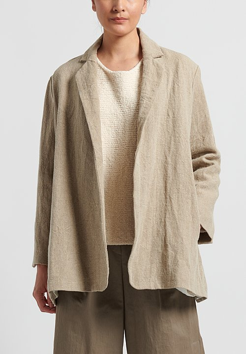 Lauren Manoogian Linen Burlap Blazer in Natural