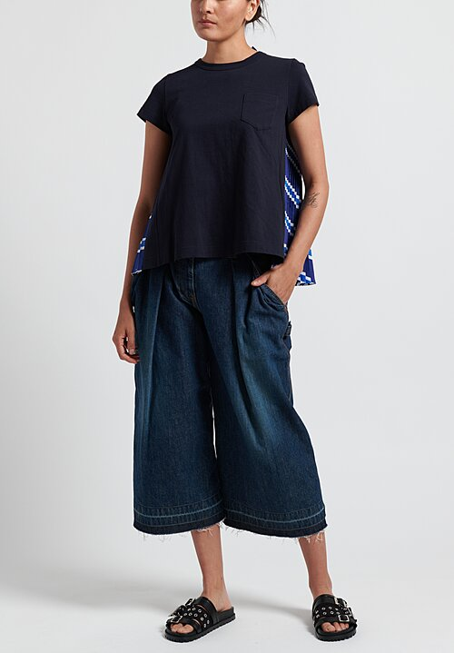 Sacai Cotton Poplin Pleated Back T-Shirt in Navy