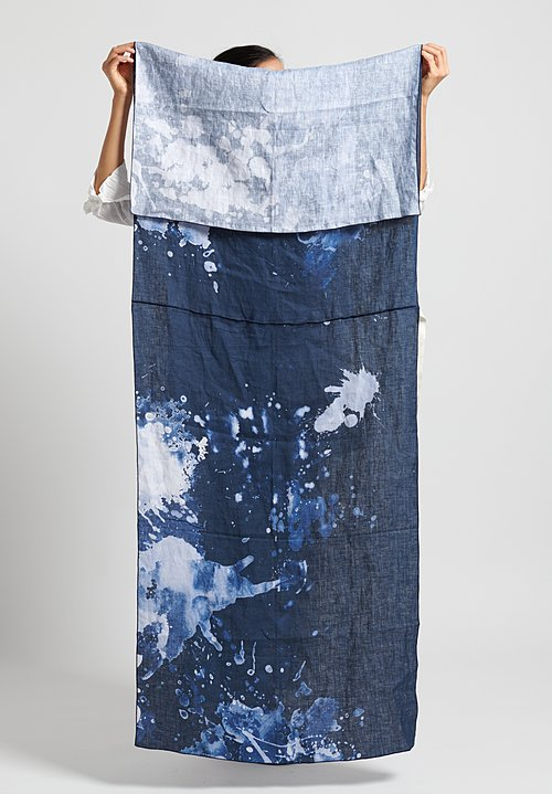 Replika Linen Splatter Print Rectangle Scarf Blue