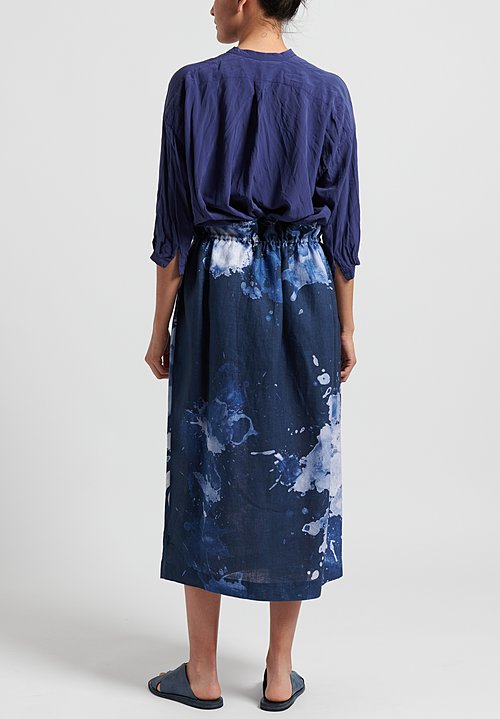Replika Linen Splatter Print Drawstring Skirt