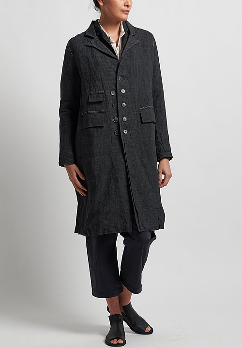 Umit Unal Linen Micro Houndstooth Coat in Black