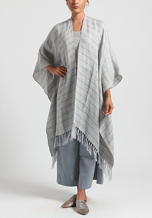 Brunello Cucinelli Linen Blend Metallic Stripe Cape in Grey/ Silver