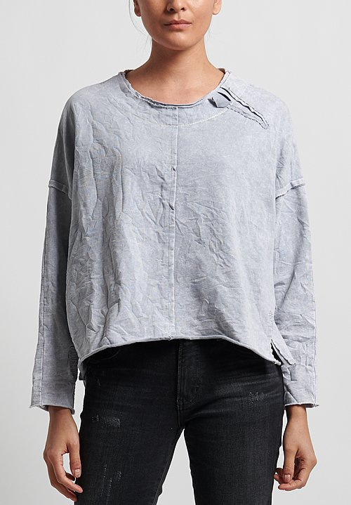 Umit Unal Cotton Slash Accent Top in Light Grey