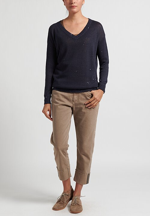 Brunello Cucinelli Linen/ Silk Paillette V-Neck Sweater in Navy