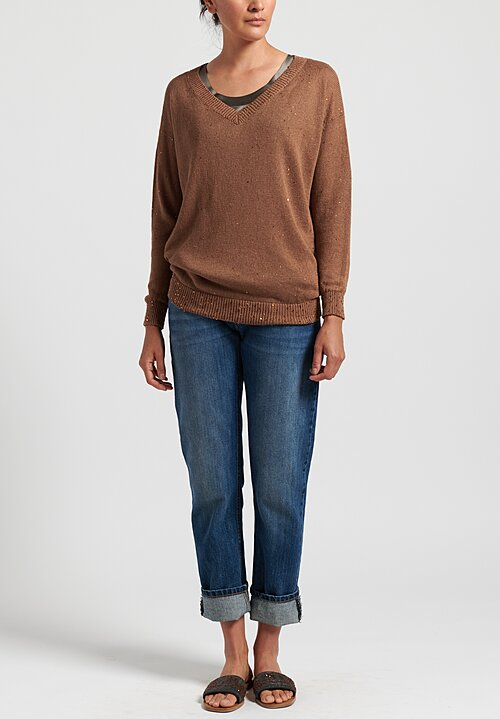 Brunello Cucinelli Linen/ Silk Paillette V-Neck Sweater in Copper