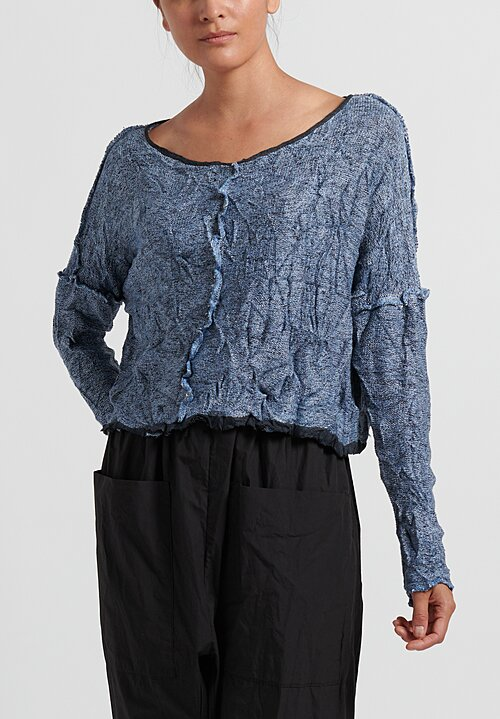 Umit Unal Cotton Wrinkled Crop Top in Indigo