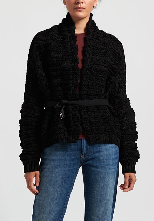 Brunello Cucinelli Cotton Chunky Knit Belted Cardigan in Black