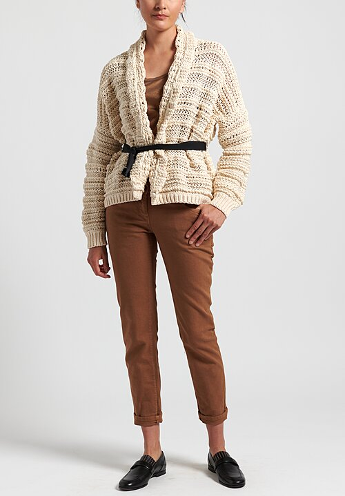 Brunello Cucinelli Cotton Chunky Knit Belted Cardigan in Ivory