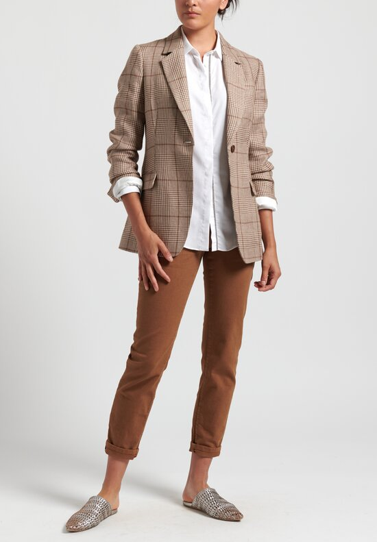 Brunello Cucinelli Linen Houndstooth Blazer in Brown
