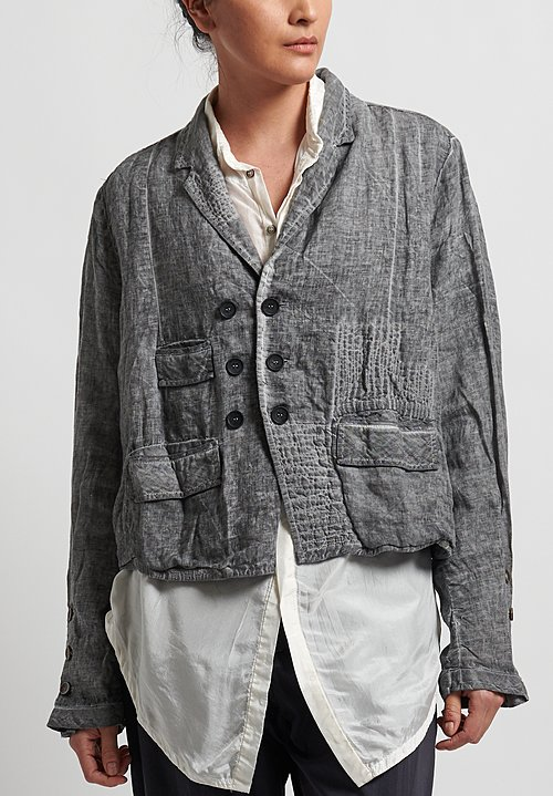 Umit Unal Linen Shibori Patched Jacket in Medium Grey