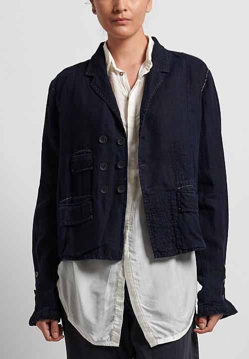 Umit Unal Linen Shibori Patched Jacket in Dark Navy