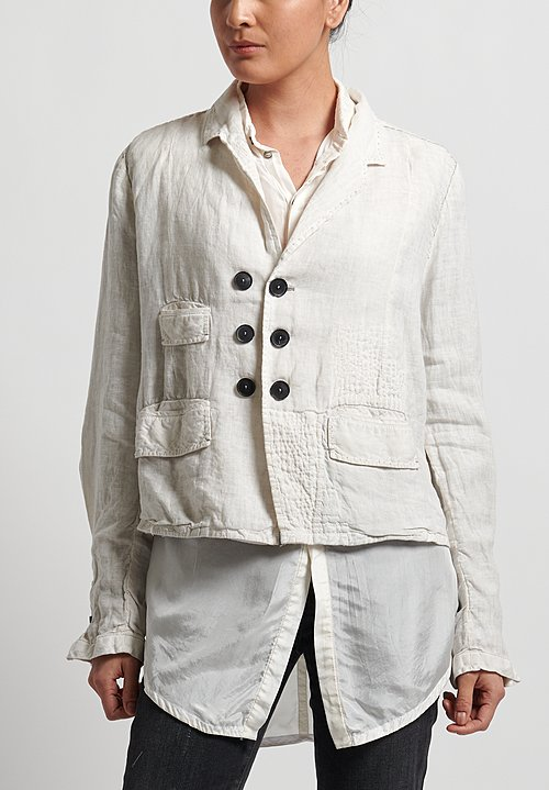 Umit Unal Linen Shibori Patched Jacket in White