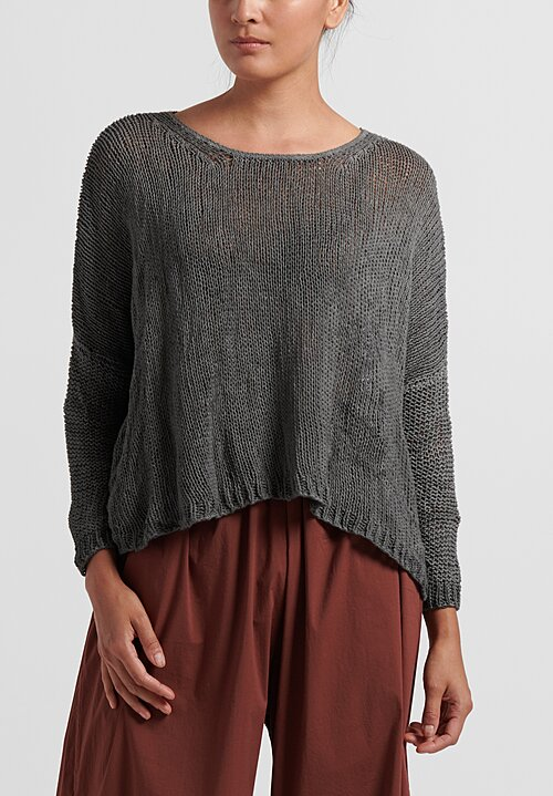 Umit Unal Cotton Handknit Loose Crop Sweater in Grey