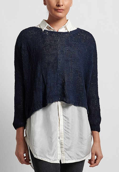Umit Unal Cotton Handknit Loose Crop Sweater in Indigo