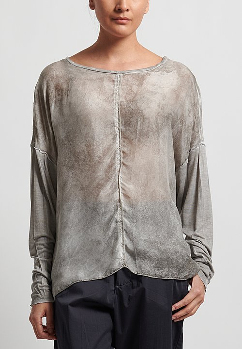 Umit Unal Silk/Cotton Long Sleeve Loose Top in Smoke