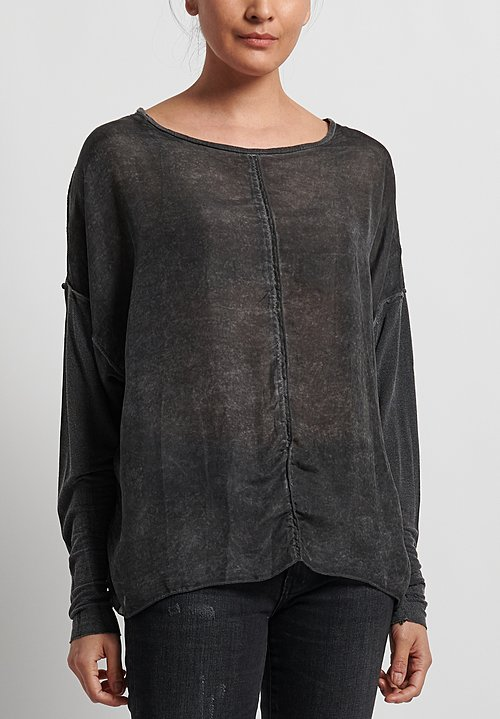 Umit Unal Silk/Cotton Long Sleeve Loose Top in Black