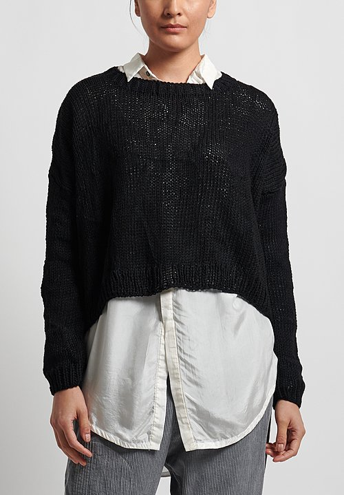 Umit Unal Wool Handknit Drop Shoulder Sweater in Black