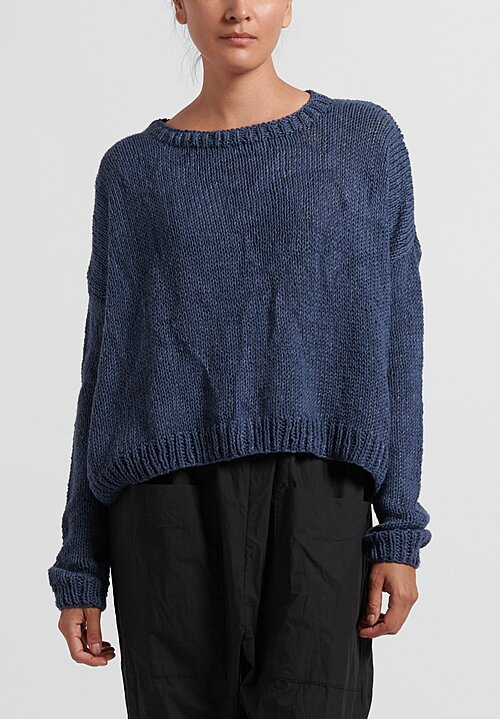 Umit Unal Wool Handknit Drop Shoulder Sweater in Indigo