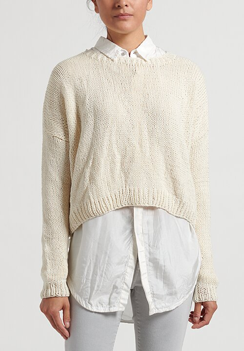 Umit Unal Wool Handknit Drop Shoulder Sweater in Cream