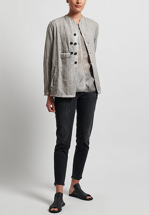 Umit Unal Linen Collarless Frayed Edge Jacket in Medium Grey