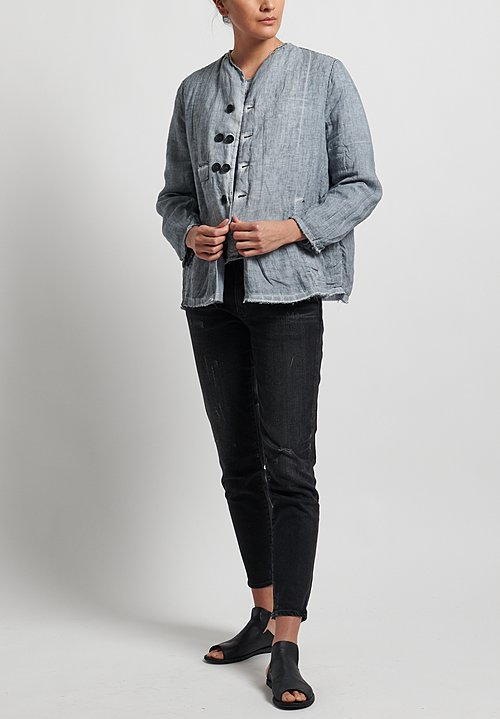 Umit Unal Linen Collarless Frayed Edge Jacket in Silver