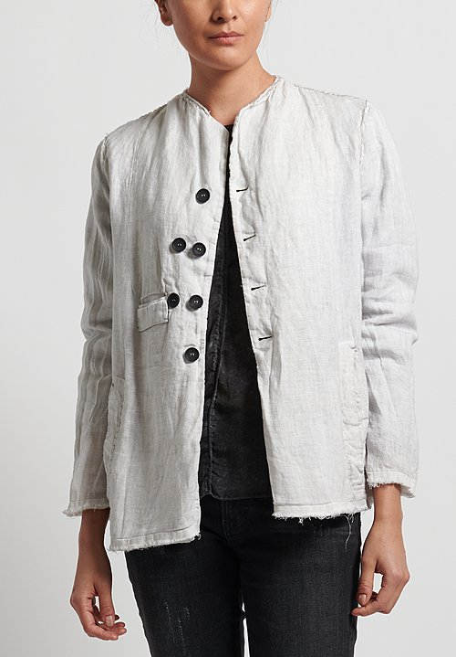 Umit Unal Linen Collarless Frayed Edge Jacket in Original