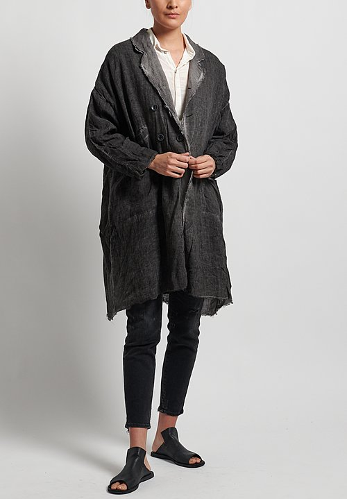Umit Unal Linen Frayed Edge Coat in Anthracite