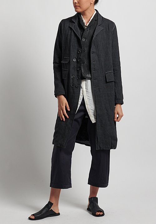 Umit Unal Linen Short Jacket in Pale Black