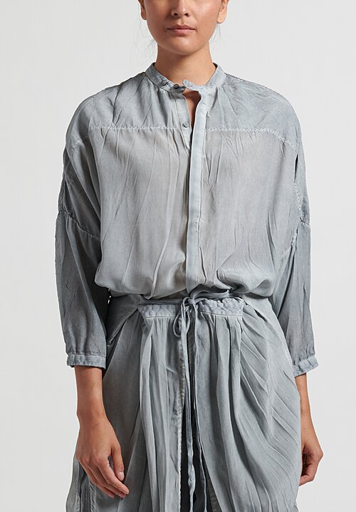 Umit Unal Silk Button-Down Tunic in Silver