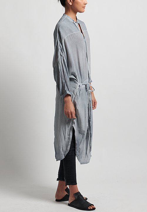 Umit Unal Silk Button-Down Tunic in Medium Grey