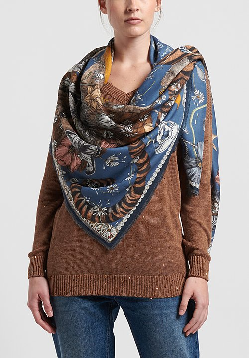 Sabina Savage Wool/Silk The Lion and Tiger's Tea Scarf in Sapphire/Gold