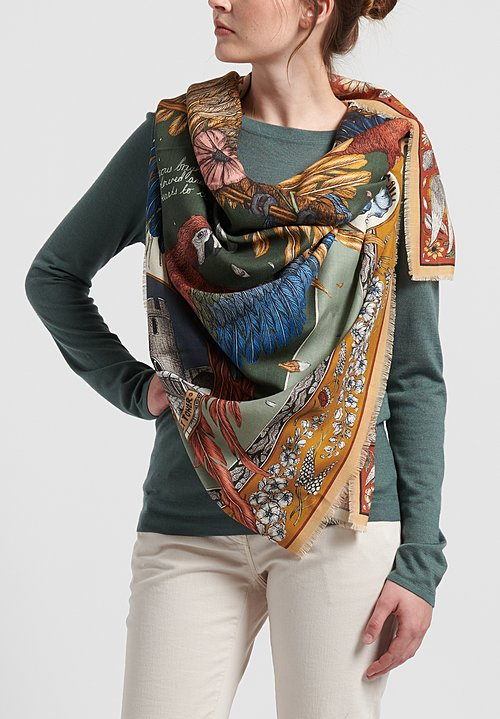 Sabina Savage Wool/Silk The Princely Parrots Scarf in Pistachio/Peridot