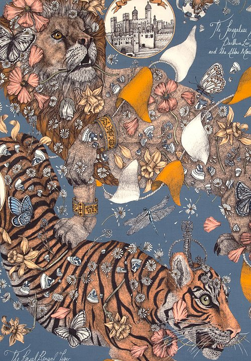 Sabina Savage Silk Twill The Lion and Tiger's Tea Party Scarf in Sapphire/Gold