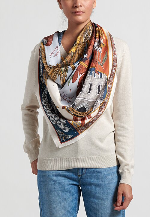 Sabina Savage Silk Twill The Princely Parrot Scarf in Ruby