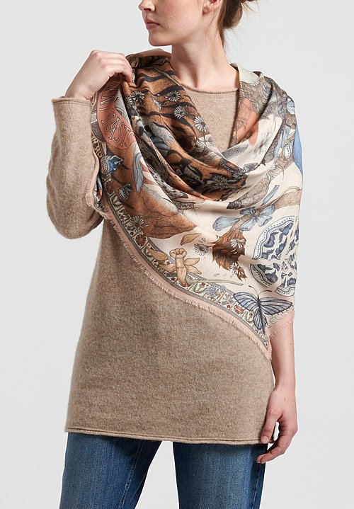 Sabina Savage Cashmere Lion and Tiger's Tea Party Scarf in Peony/Quartz