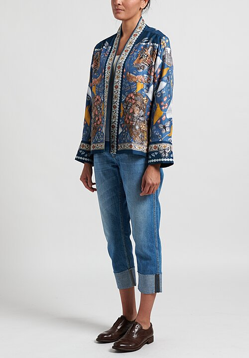 Sabina Savage Silk The Lion and Tiger's Tea Party Short Jacket in Sapphire