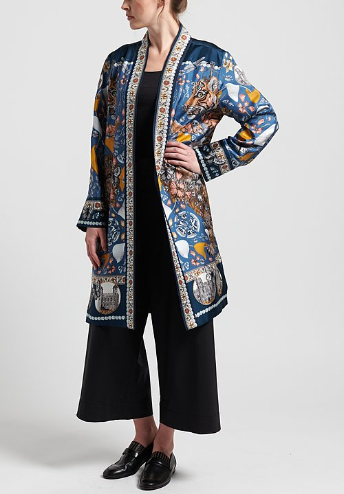 Sabina Savage Silk The Lion and Tiger's Tea Party Midi Jacket in Sapphire/Gold