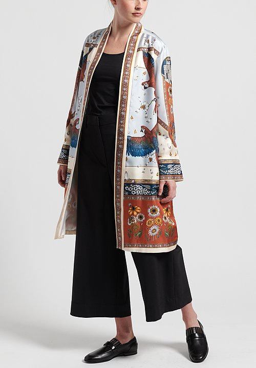Sabina Savage Silk The Princely Parrots Midi Jacket in Delphinium/Ruby
