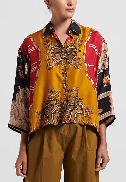 Rianna + Nina Silk One of a Kind Oversize Top in Multi/ Gold