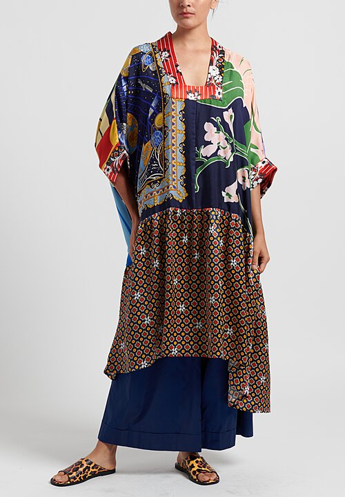 Rianna + Nina Silk One of a Kind Oversize Dress in Multi/ Navy